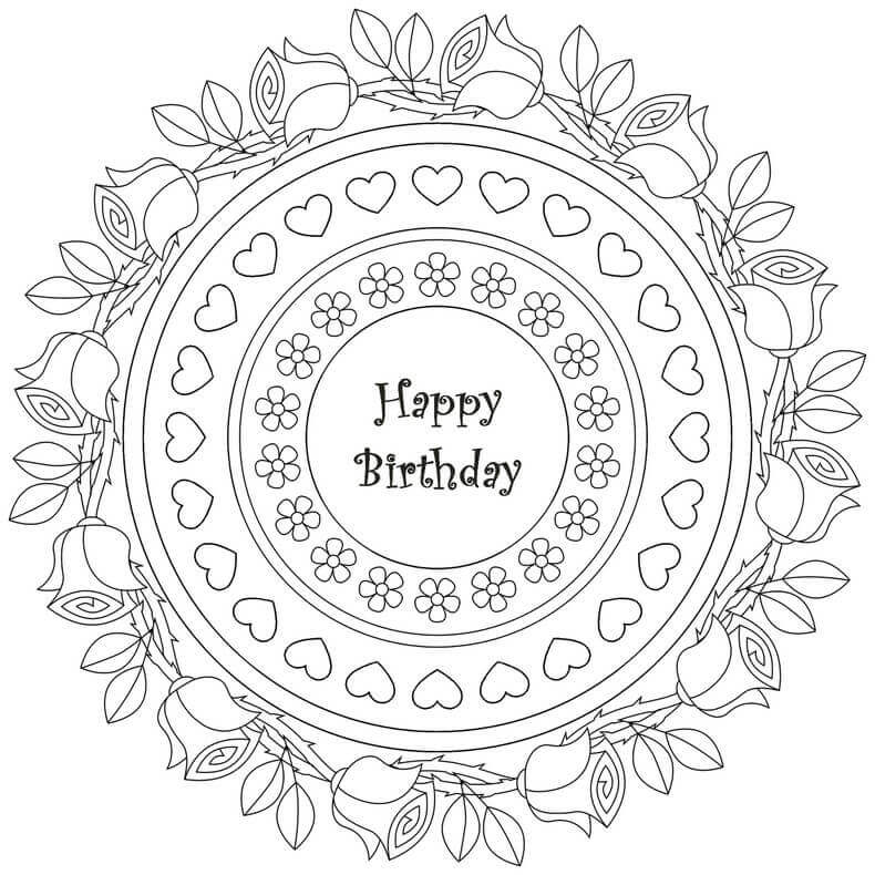 Printable Happy Birthday Coloring Pages For Adults