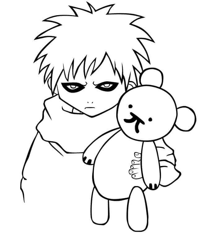 Printable Naruto Coloring Pages Gaara of the Sand