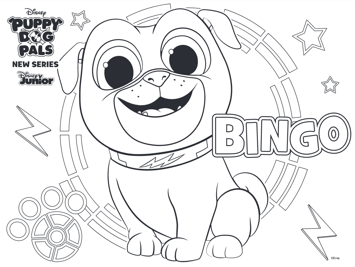 Puppy Dog Pals Coloring Pages Bingo