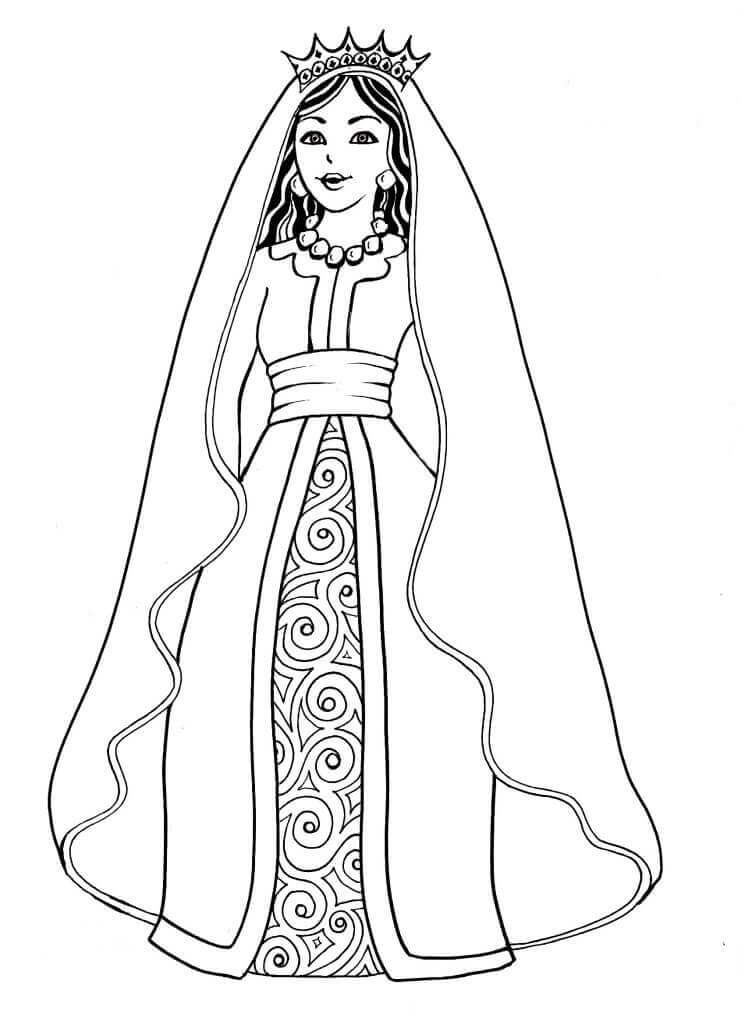 Purim Characters Coloring Pages Queen Esther