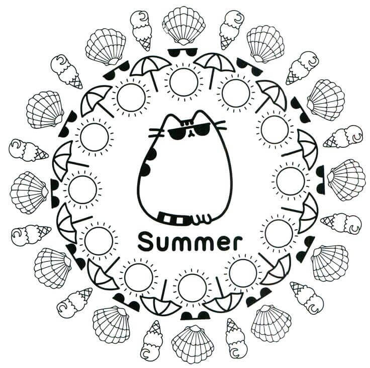 Pusheen Summer Coloring Pages