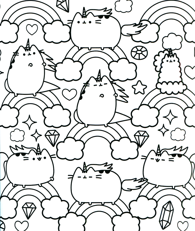 20 free pusheen coloring pages to print for Rainbow unicorn coloring pages