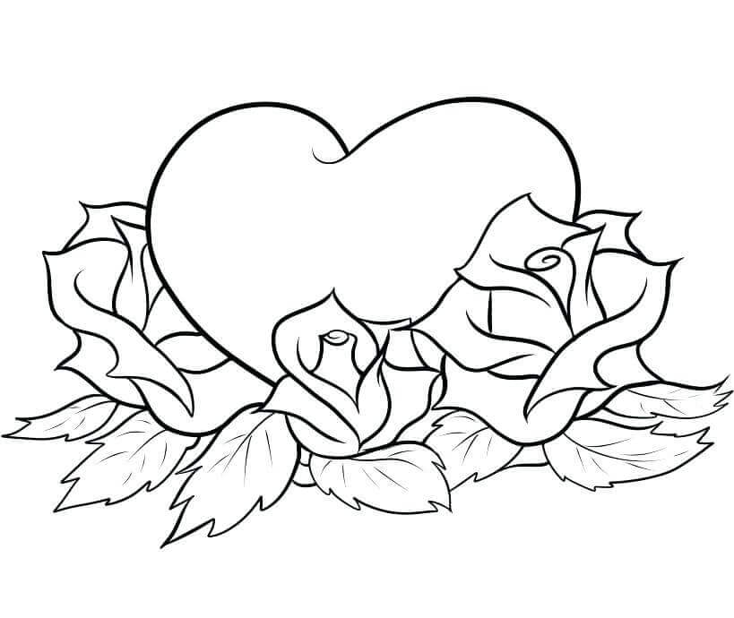 Roses And Heart Coloring Pages Free