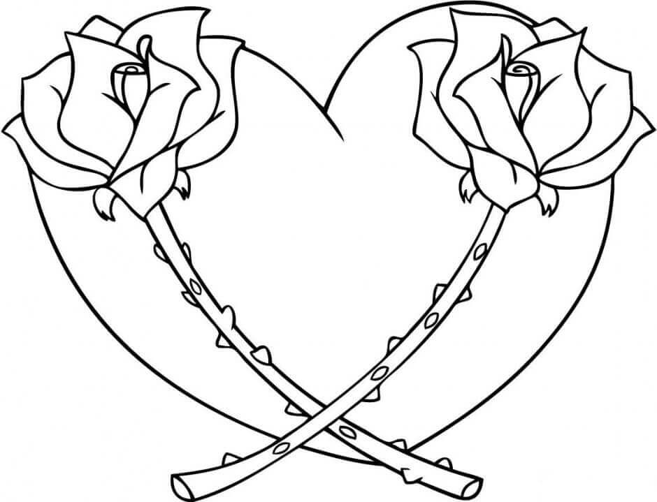 Roses And Heart Coloring Pages