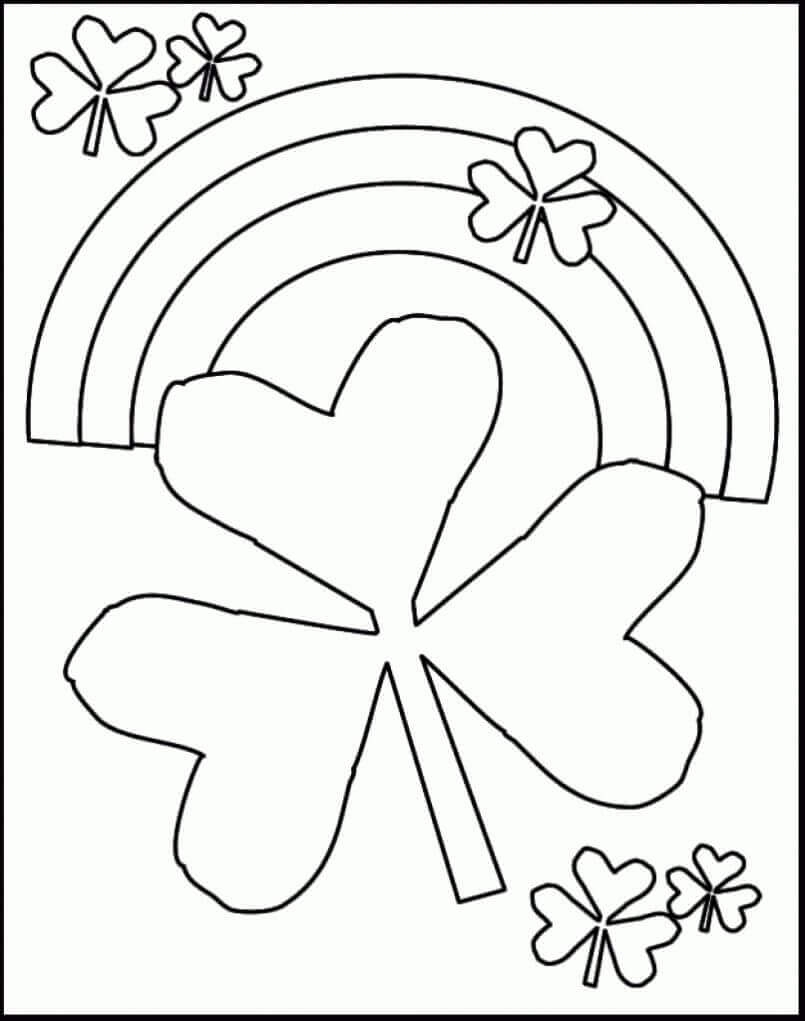 Shamrock And Rainbow Coloring Page
