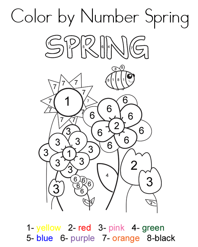 Spring Color By Number Activity Sheets