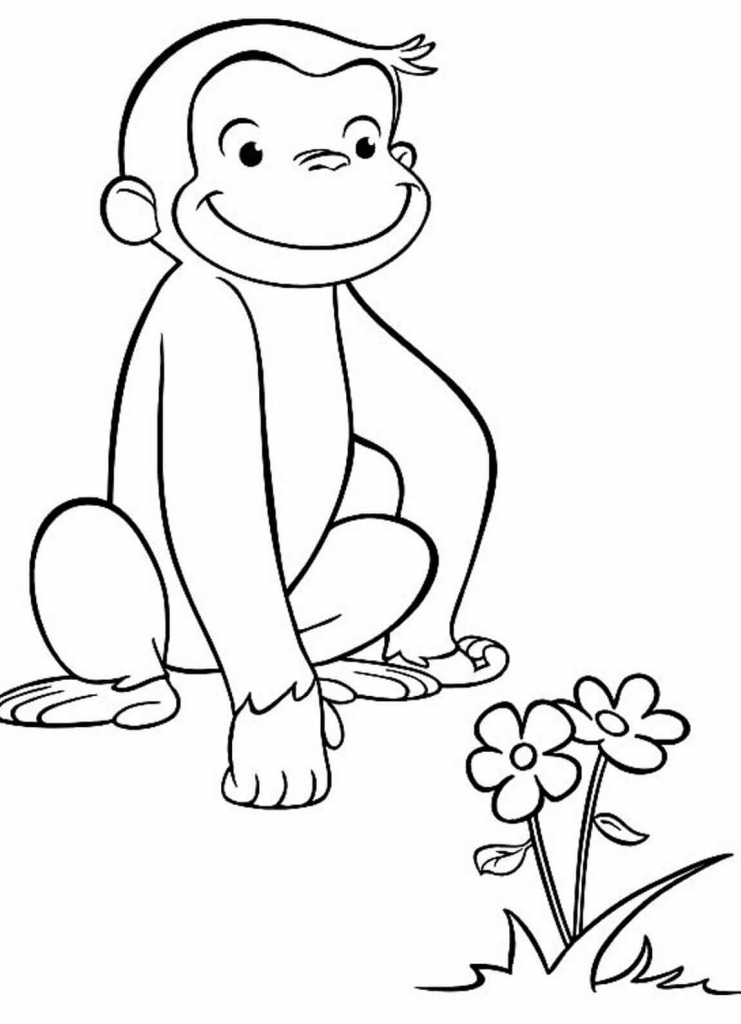 Spring Curious George Coloring Page