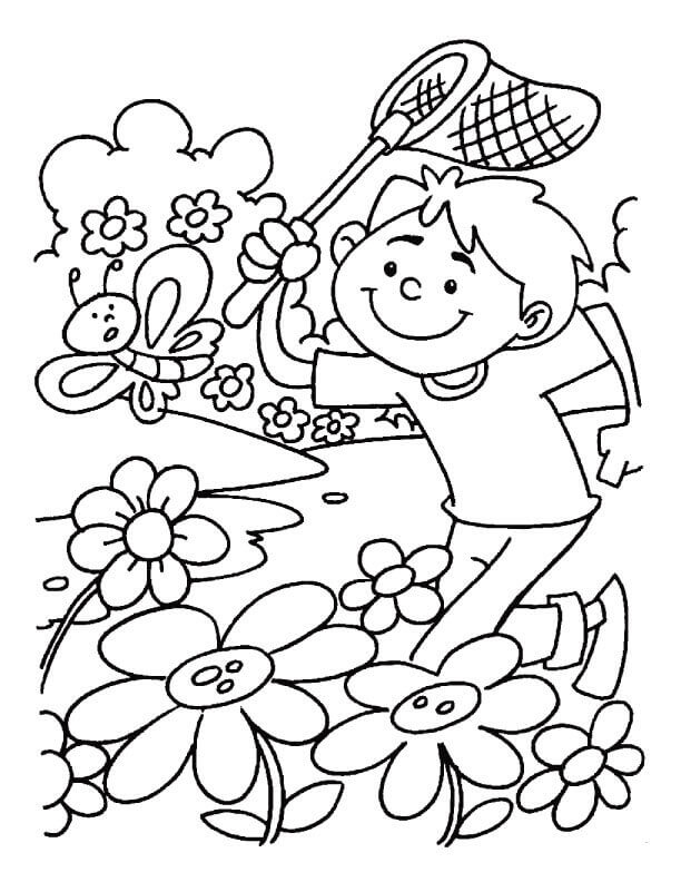 Spring Flowers And Butterflies Coloring Pages