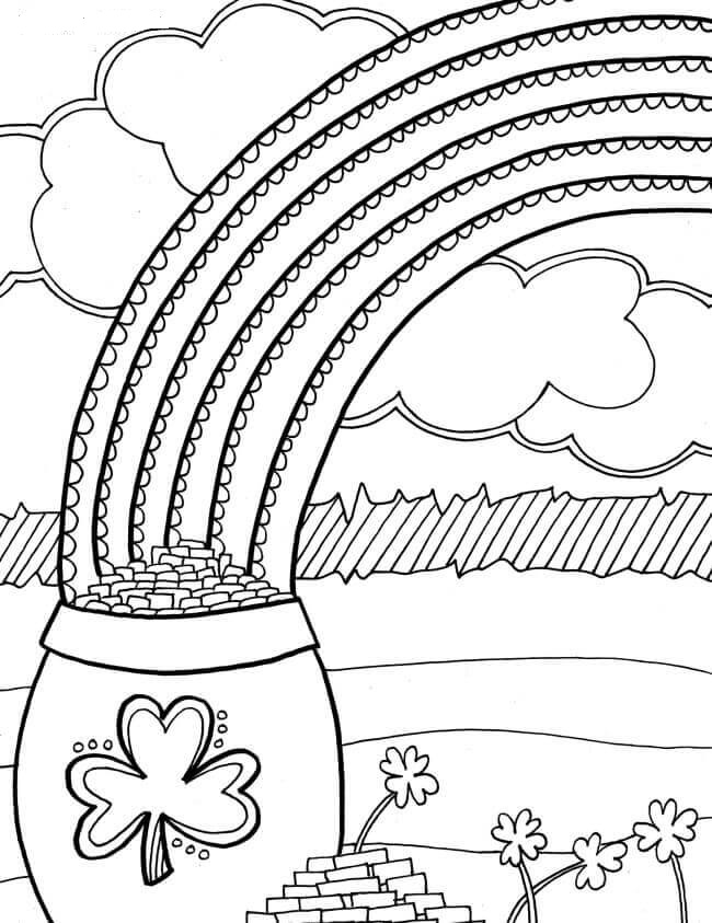 St Patricks Day Rainbow And Gold Pot Coloring Pages St Patricks Day Coloring Pages For Preschoolers St Patricks Day Coloring Sheets For Free