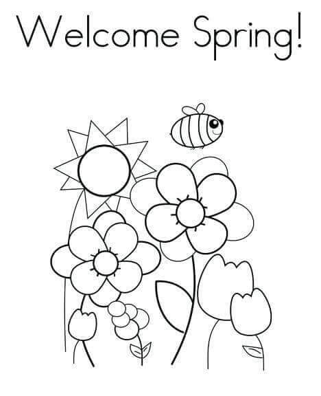 Welcome Spring Coloring Pages Printable