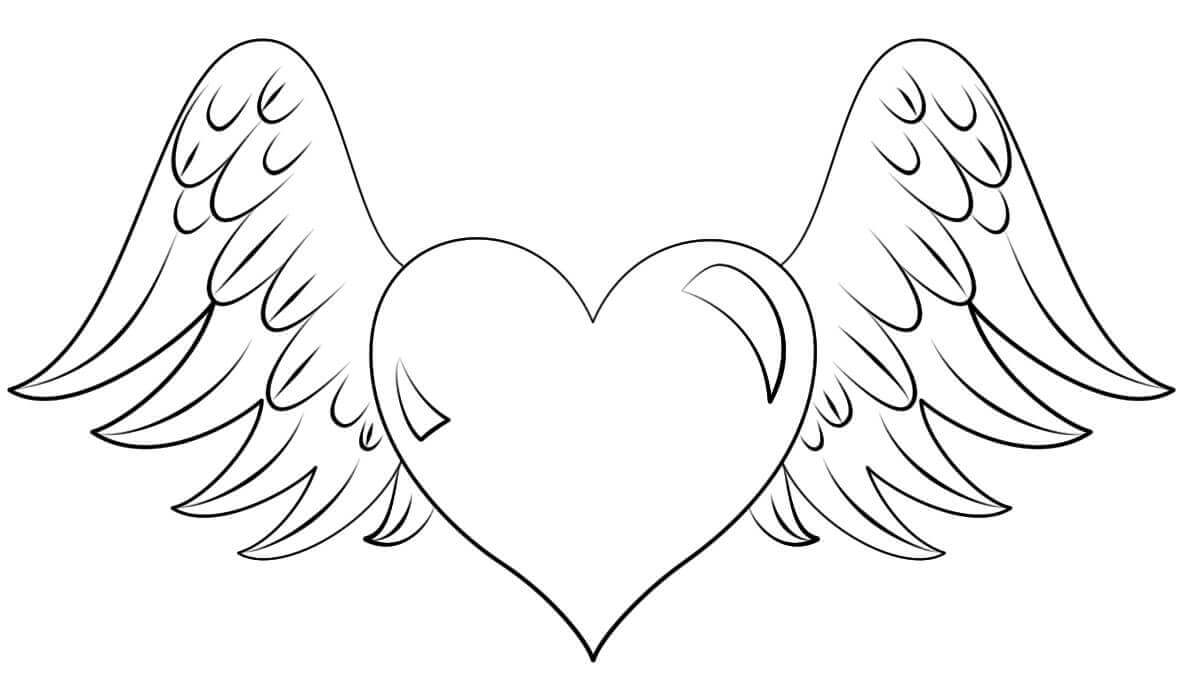 Wing And Heart Coloring Pages