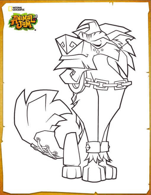 Animal Jam Coloring Images Greely The Alpha Wolf