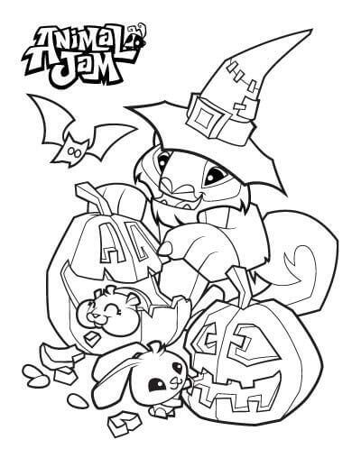 Animal Jam Halloween Coloring Pages