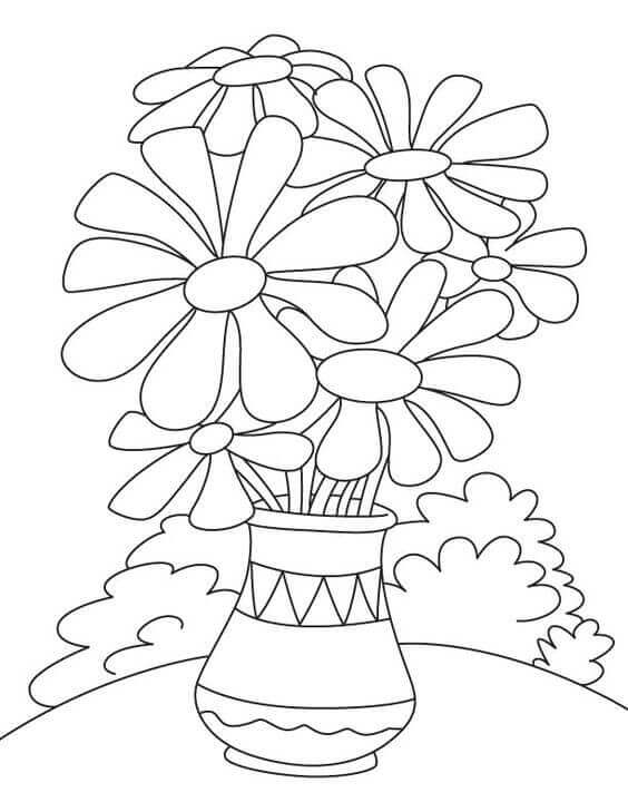 April Month Flower Daisy Coloring Page