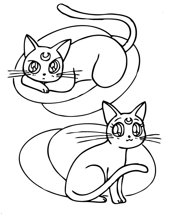 Artemis And Luna Sailor Moon Coloring Page