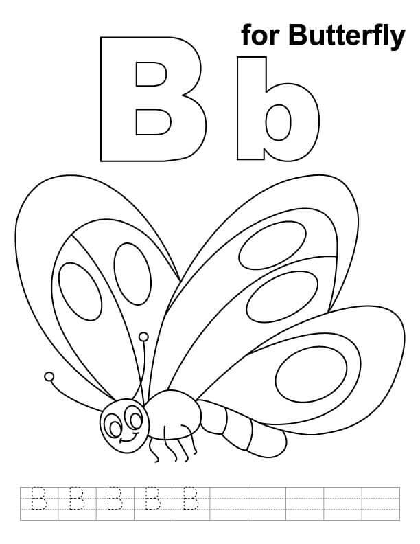 B For Butterfly Coloring Page