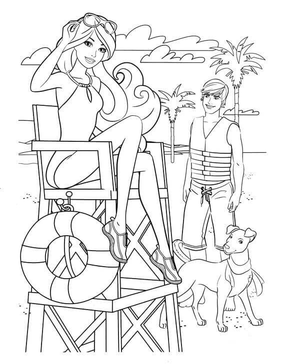 Barbie With Her Dog Coloring Page