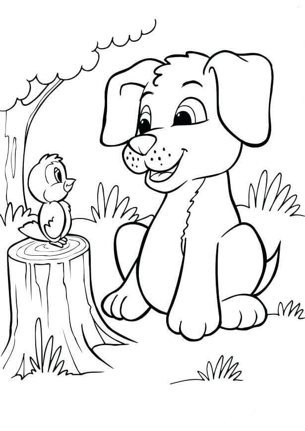 Bird And Puppy Coloring Page