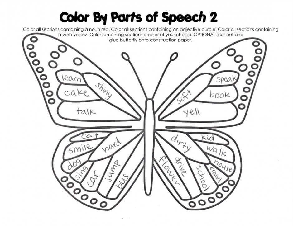 Butterfly Coloring By Parts Activity Sheet For Kids