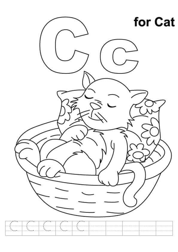 C For Cat Coloring Pages