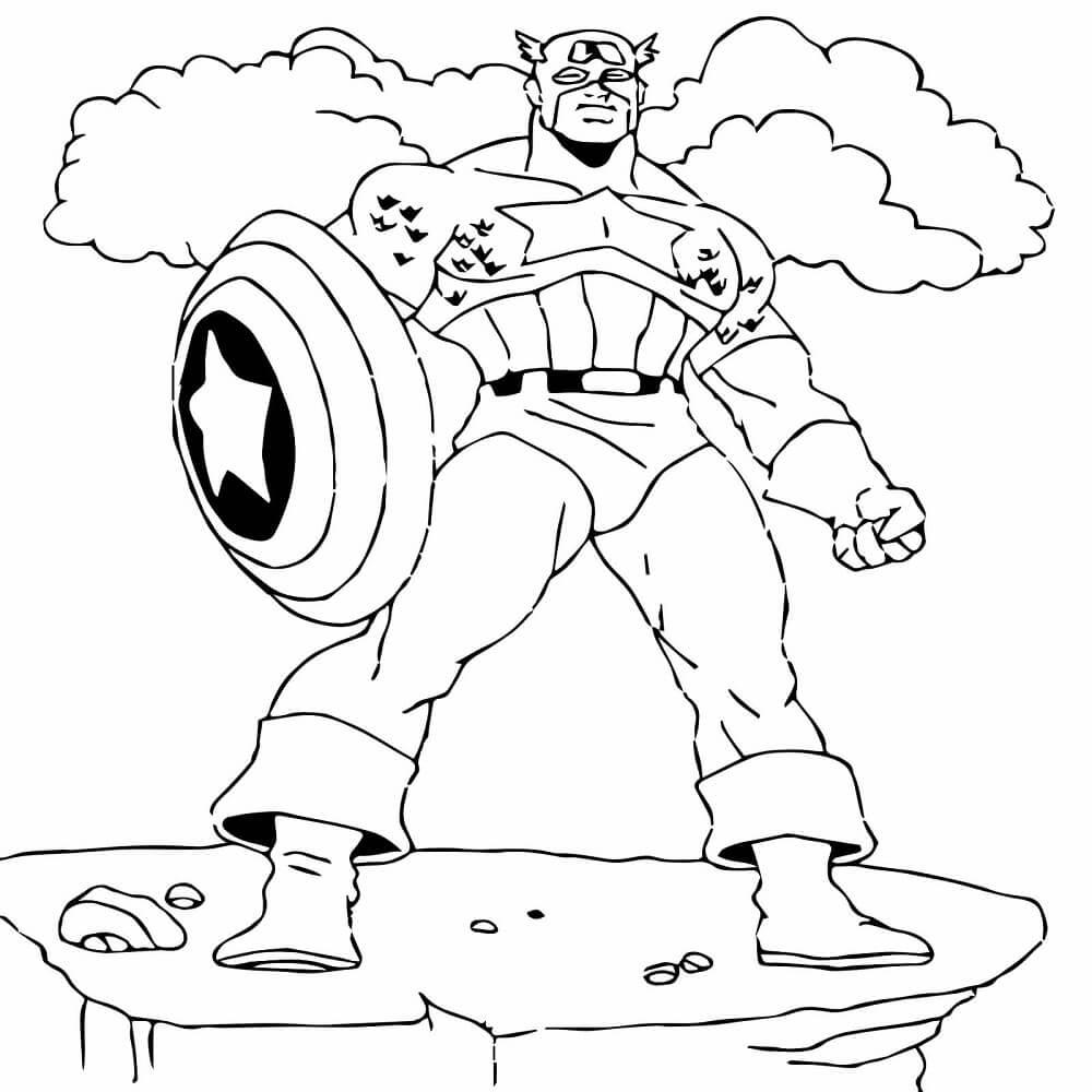Captain America Superhero Coloring Page