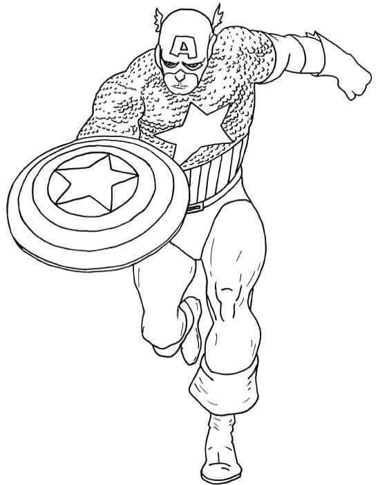 Captain America With His Shield Coloring Page