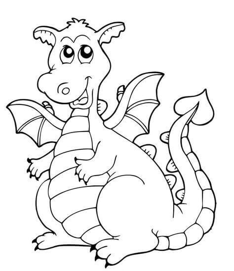 Cartoon Dragon Coloring Pages For Kids