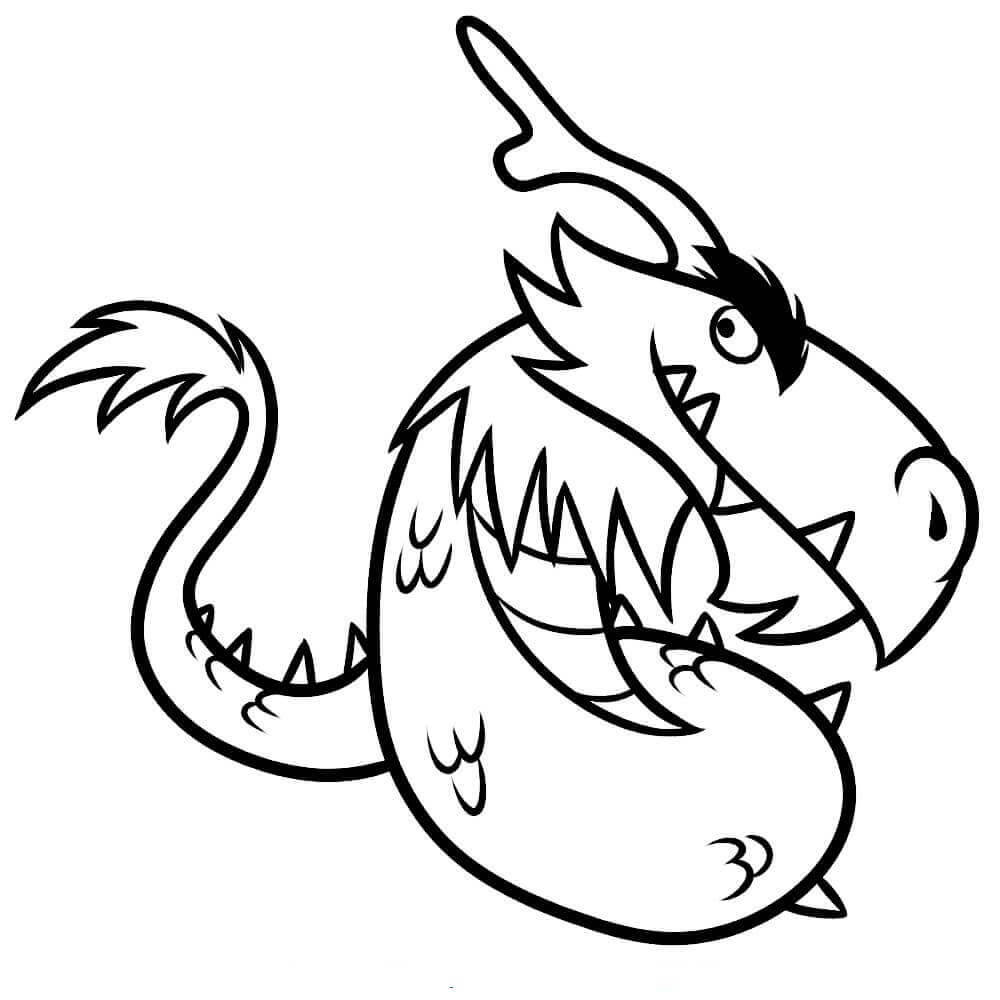 Cartoon Dragon Coloring Page For Preschoolers