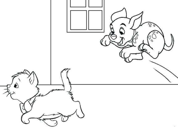Cat And Puppy Coloring Page