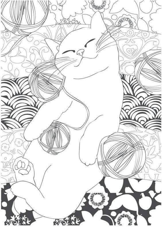 Cat With Ball Coloring Page