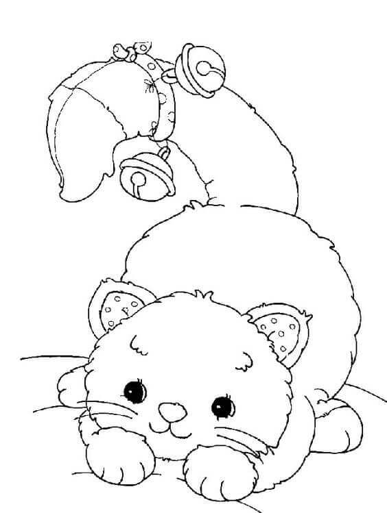 Cat With Bell Coloring Page