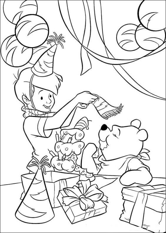 Christopher And Pooh Coloring Page