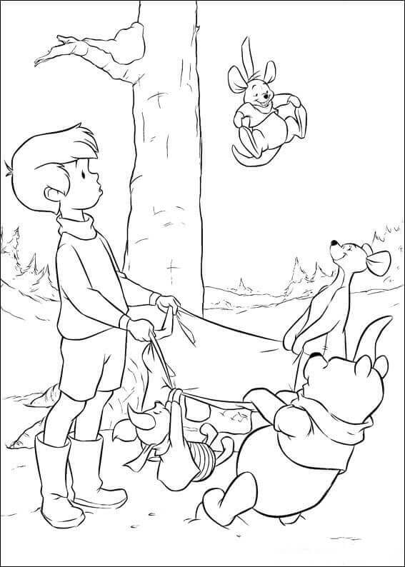 Winnie The Pooh And Christopher Robin Coloring Pages