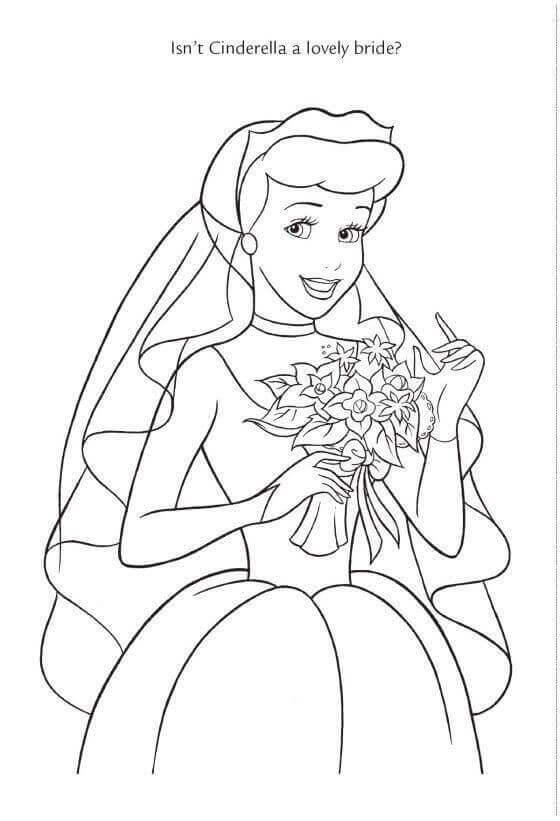 Cinderella As Bride Coloring Page