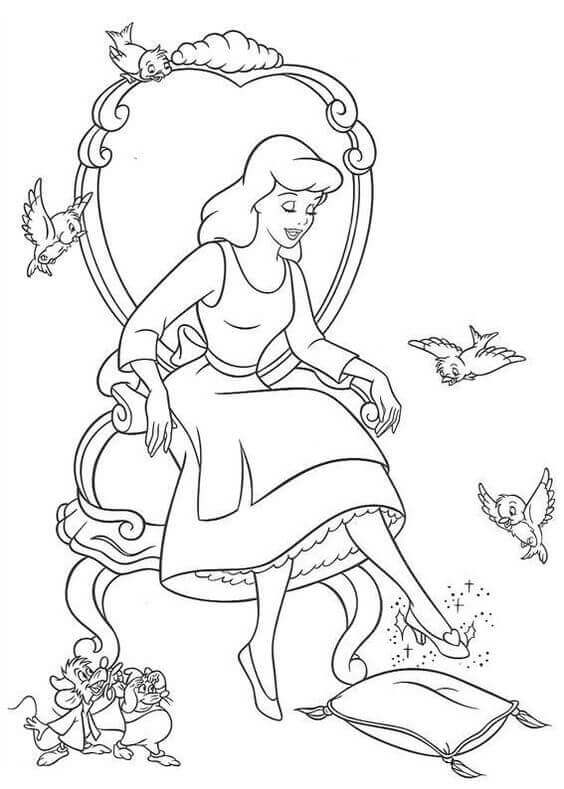 Cinderella Trying The Slippers Coloring Page