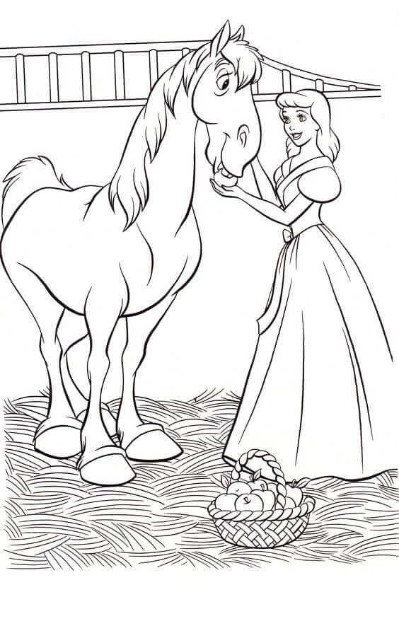 Cinderella With Major Coloring Page
