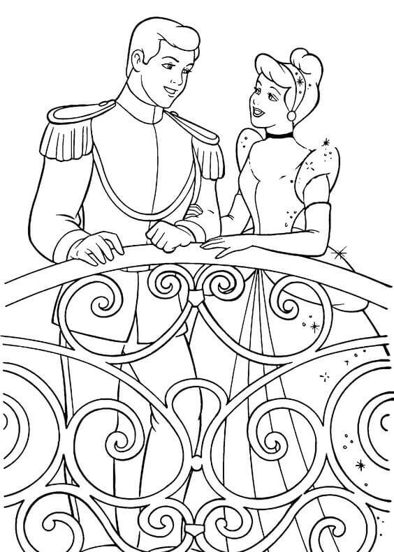 Cinderella With Prince Charming Coloring Page