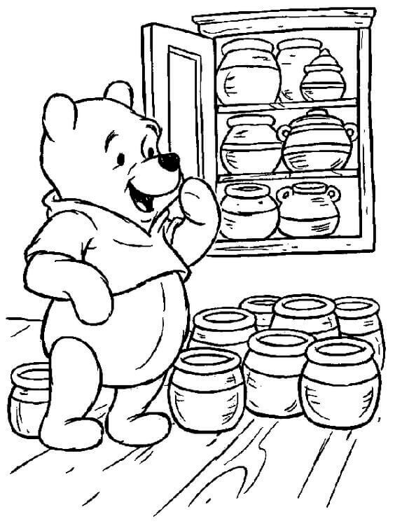 Classic Winnie The Pooh Coloring Page