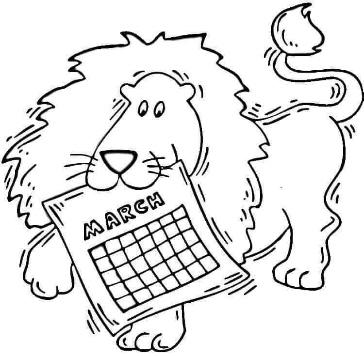 Coloring Page Of March Month