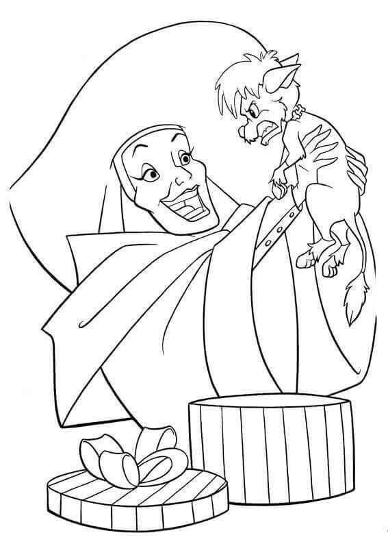 Cruella With Puppy Coloring Page