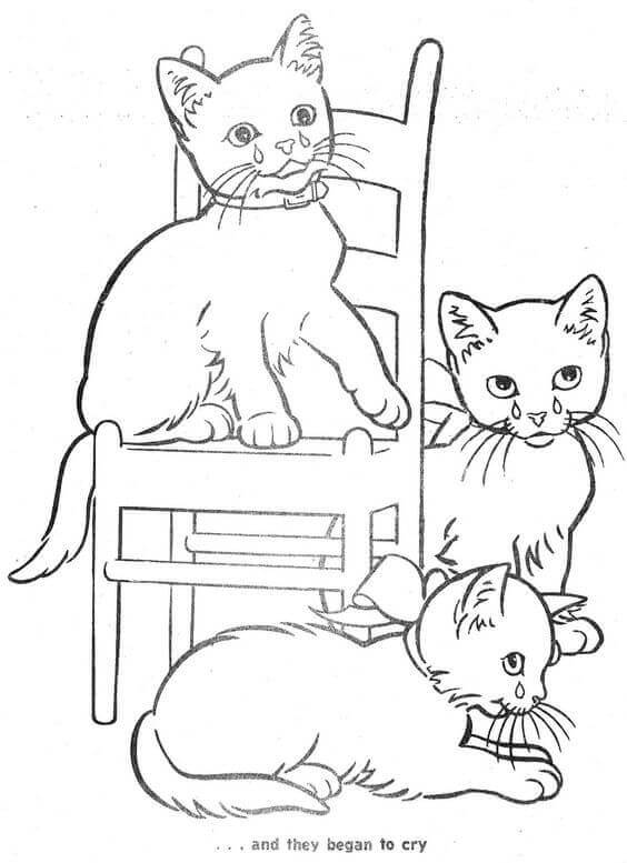 Crying Cats Coloring Page