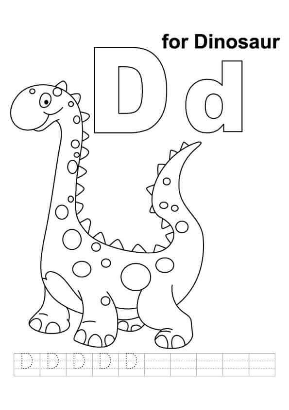 D For Dinosaur Coloring Page