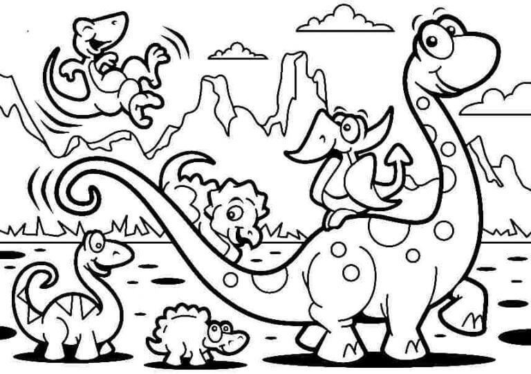 Dinosaur Family Coloring Pages