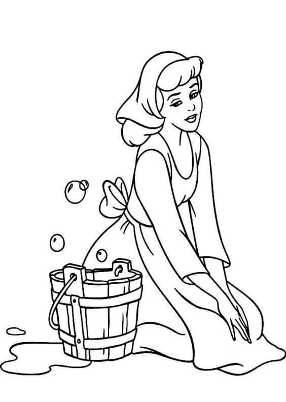 Distressed Cinderella Coloring Page