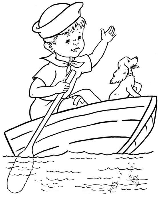 Dog And Owner Coloring Page