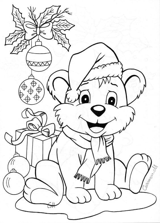 Dog Celebrating Christmas Coloring Page