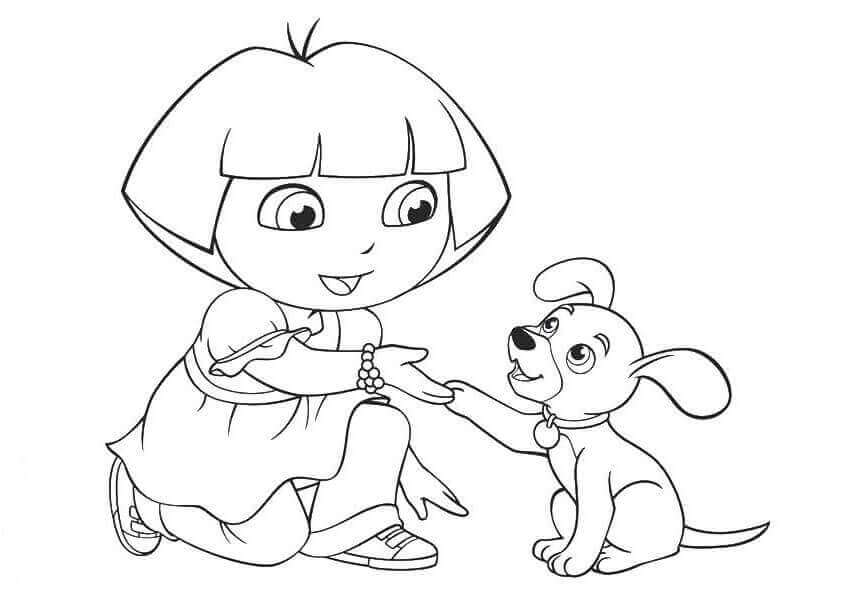 Dora With A Puppy Coloring Page