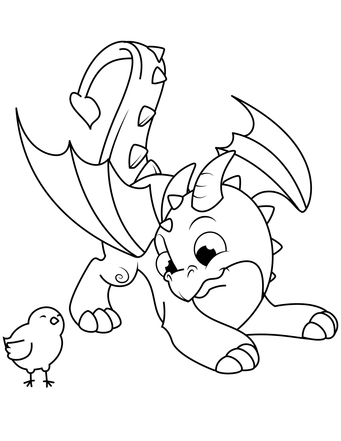 Dragon And Bird Coloring Page