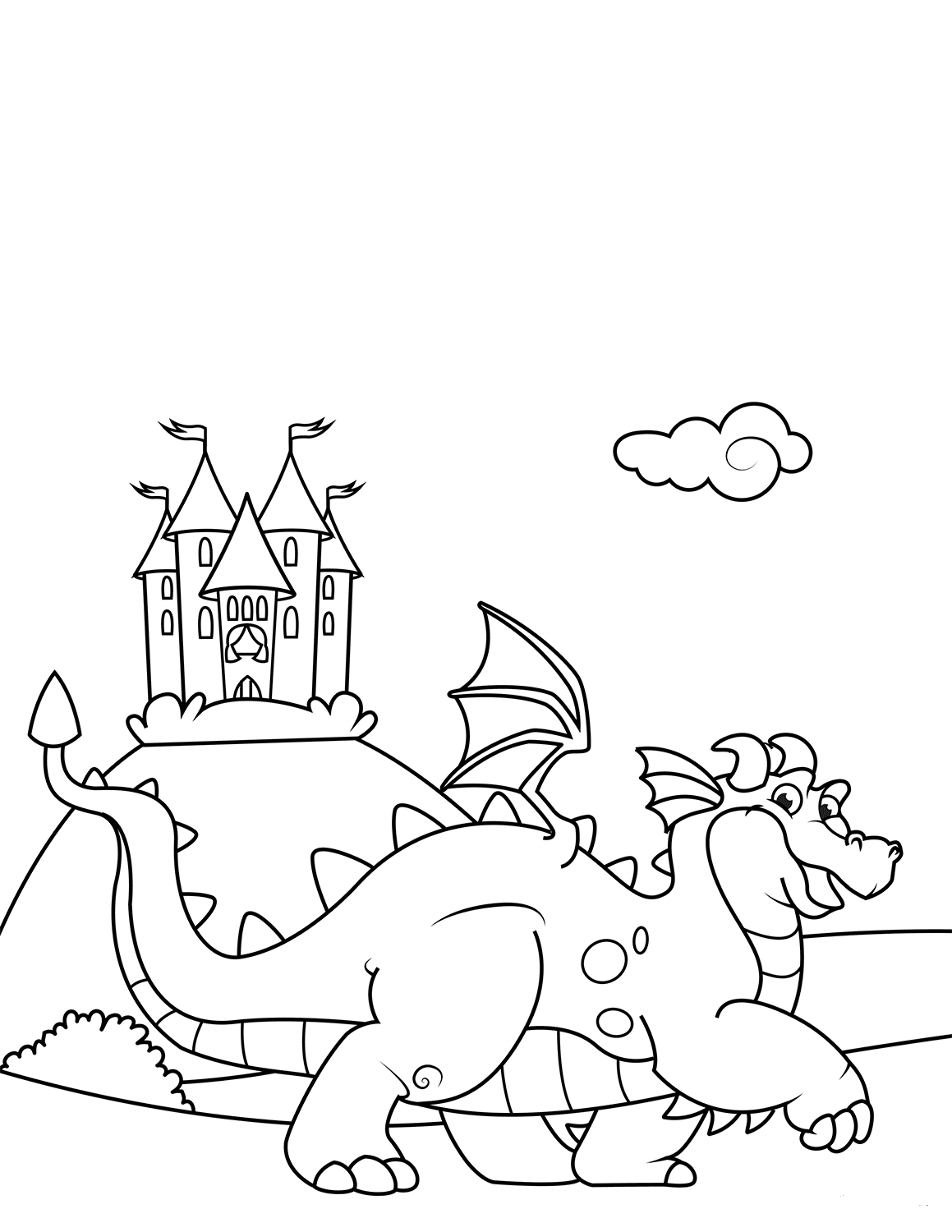 Dragon And Castle Coloring Pages