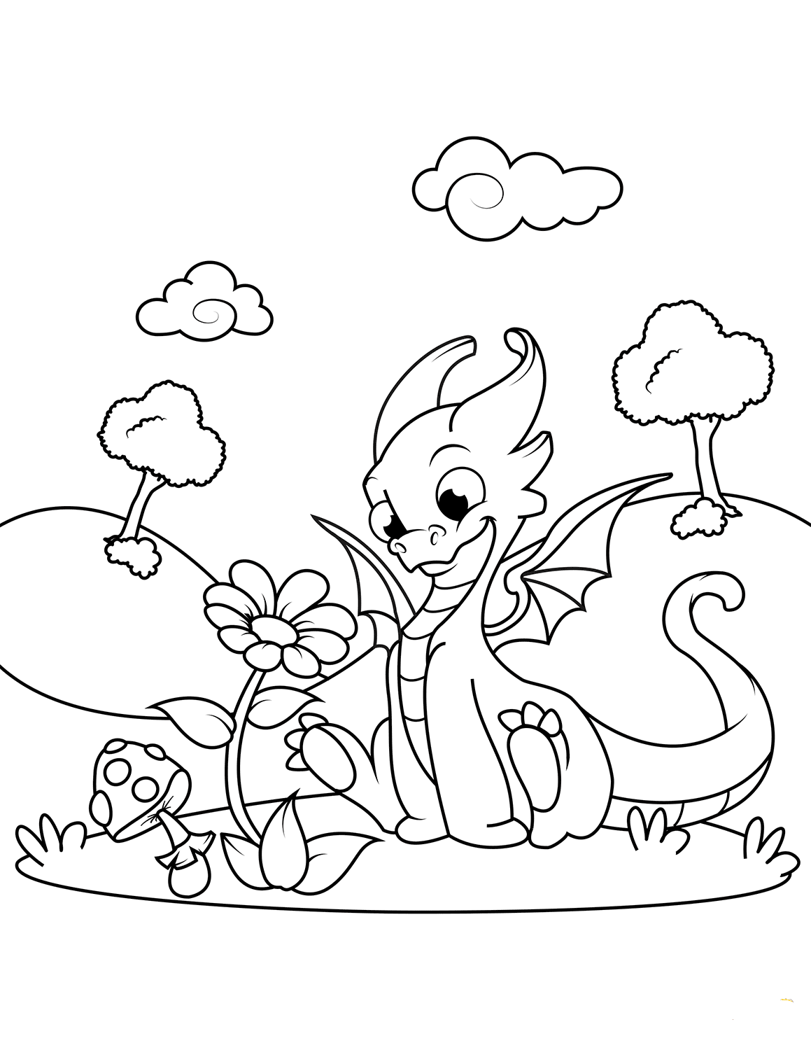 Dragon And Flower Coloring Page